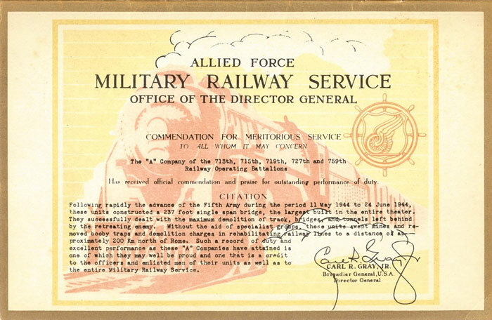 1st MRS Certificate of Merit. Inaugurated by General Gray to fill a need not covered by other U.S. Army citations or decorations