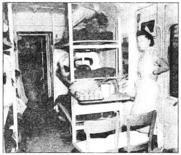 Photo Caption: Interior of a litter car on hospital train.