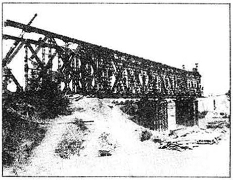 German steel, captured from the retreating enemy, was used on the Garigliano river bridge. Plans were drawn for it at MRS H.Q.