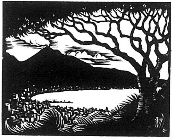 A block print by T/5 N. E. Kernall.