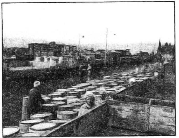 Photo Caption: Arabs transferring load from standard gauge cars to the meter gauge cars at Ouled Ramoun.